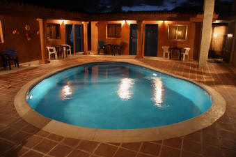 Casa Trudel bed and breakfast pool at night, Playa El Agua, Isla Margarita, Venezuela